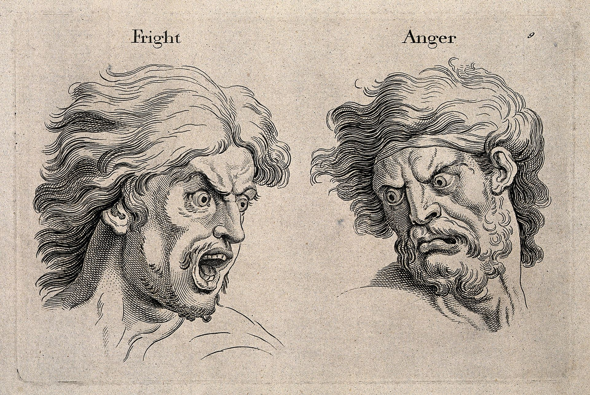 A_frightened_and_an_angry_face,_left_and_right_respectively._Wellcome_V0009326